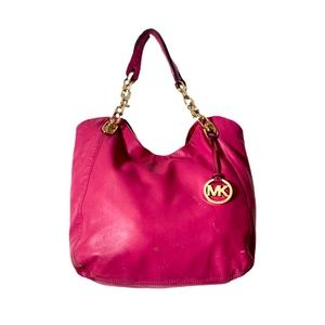 Michael Kors Hot Pink Chain Link Strap Large Purse